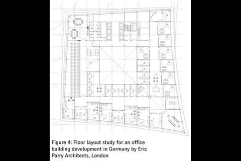Figure 4: Floor layout study for an office building development in Germany by Eric Parry Architects, London